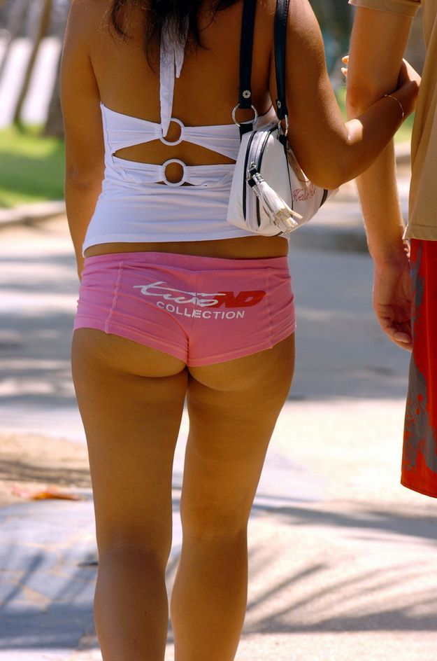 Sweet female tushies in very short shorts - 35