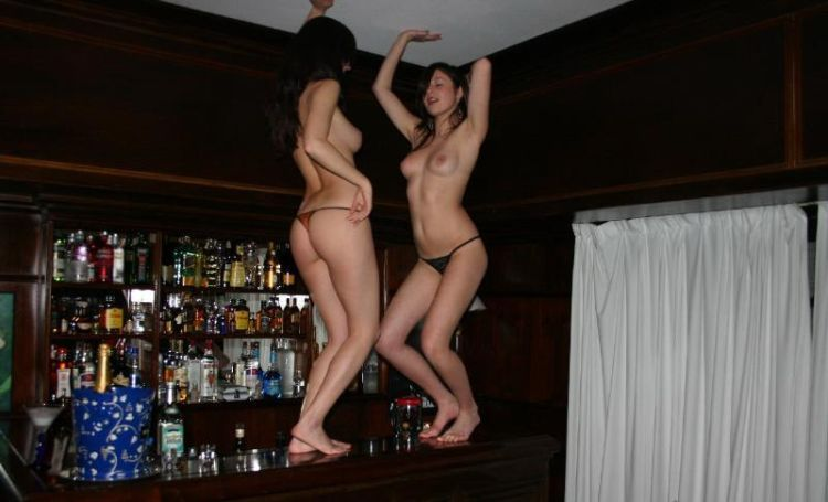 Two drunken wicked women made a great show in a bar - 08