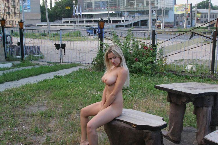 Nude Olga among abandoned monuments - 01