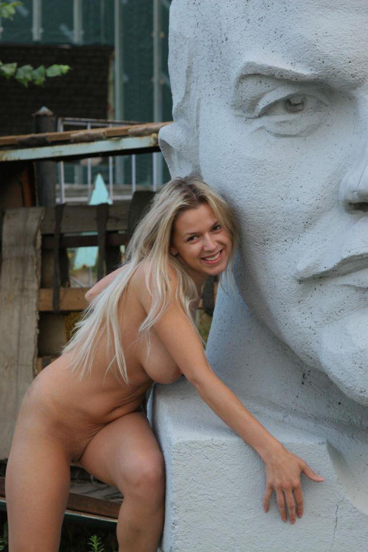 Nude Olga among abandoned monuments - 02