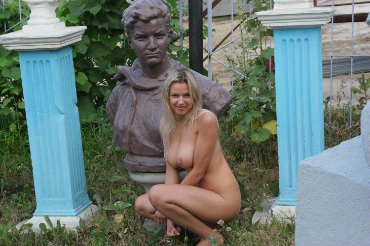 Nude Olga among abandoned monuments - 04