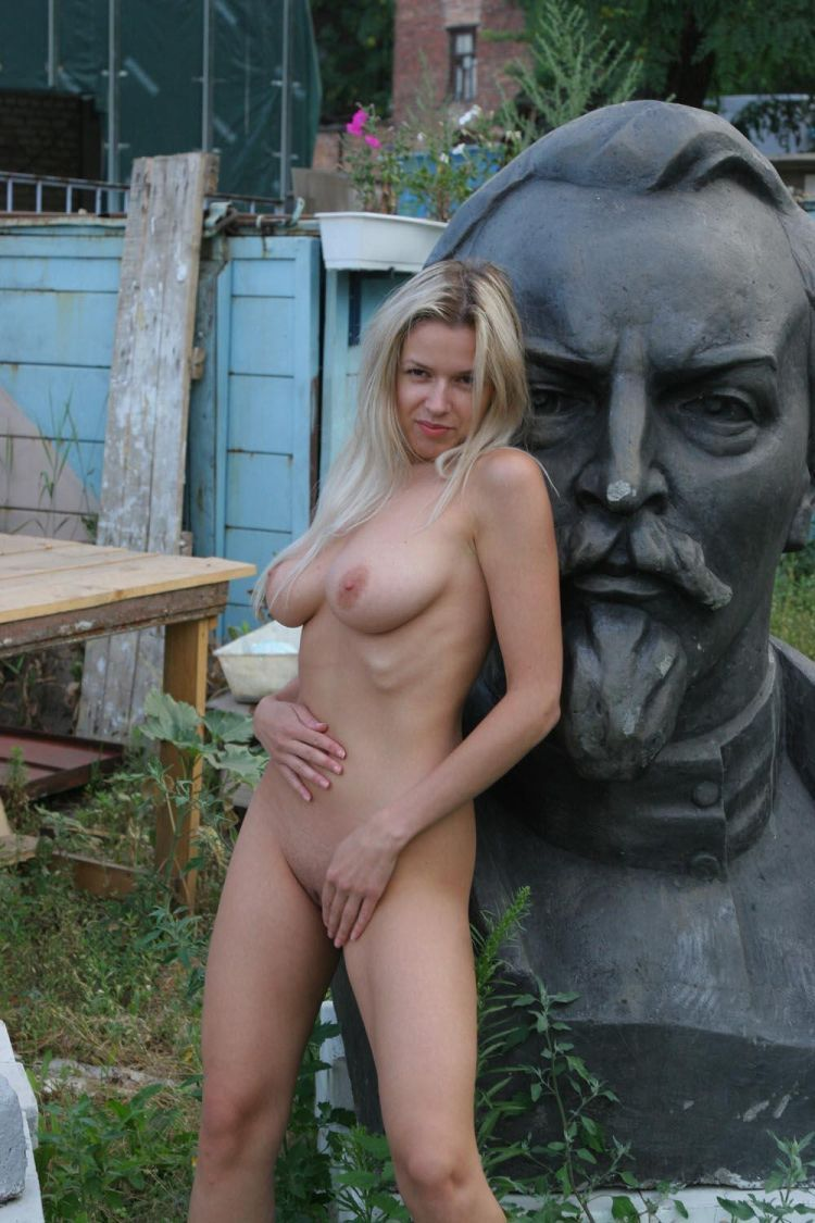 Nude Olga among abandoned monuments - 05