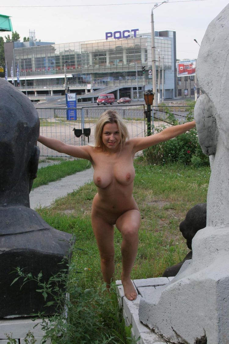 Nude Olga among abandoned monuments - 06