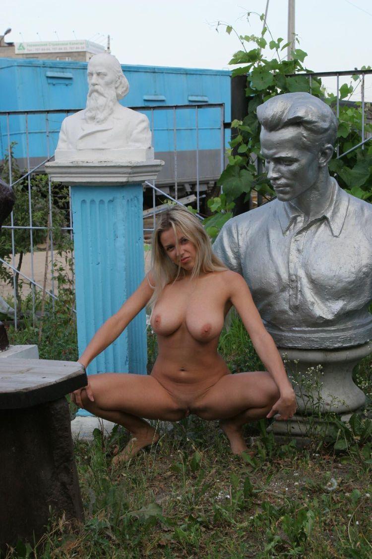 Nude Olga among abandoned monuments - 08