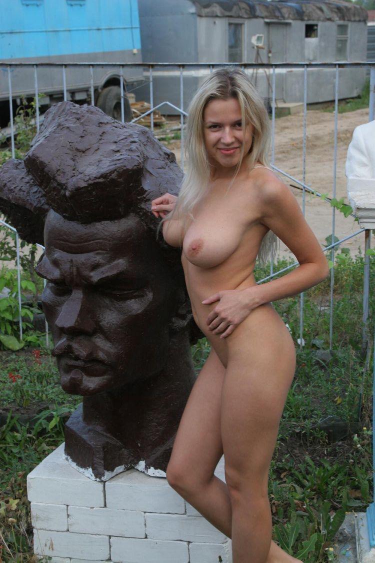 Nude Olga among abandoned monuments - 09