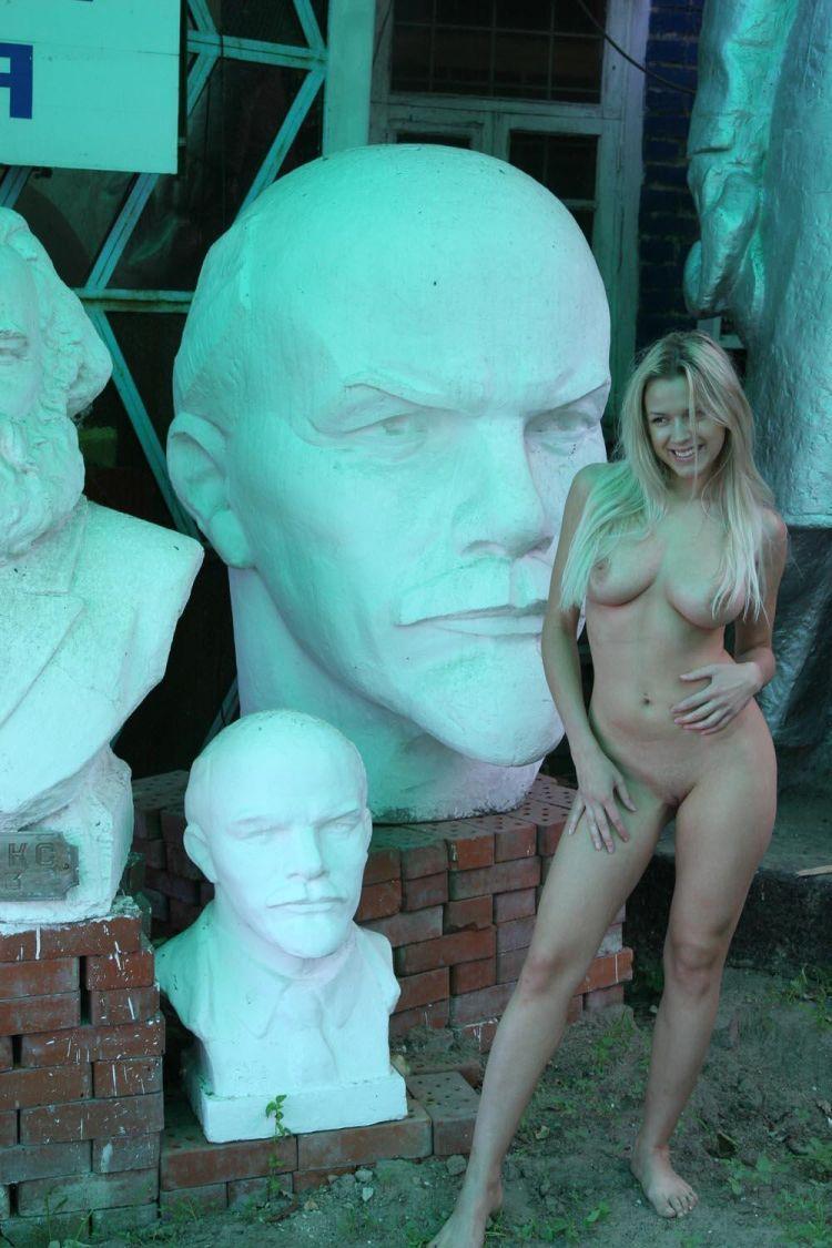 Nude Olga among abandoned monuments - 18