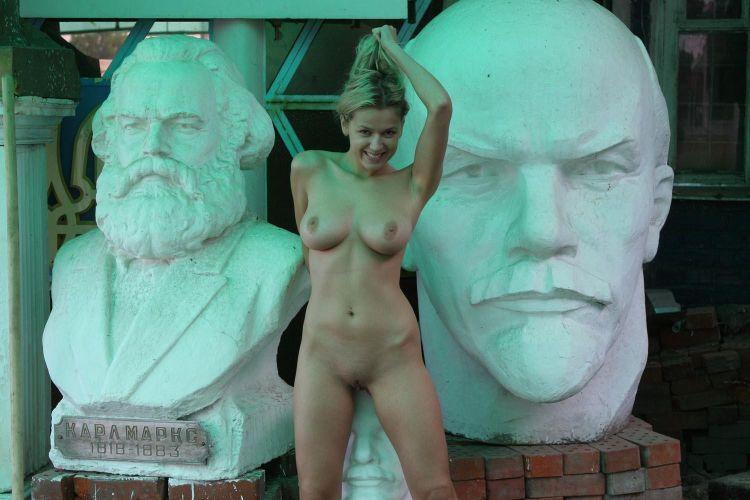 Nude Olga among abandoned monuments - 19