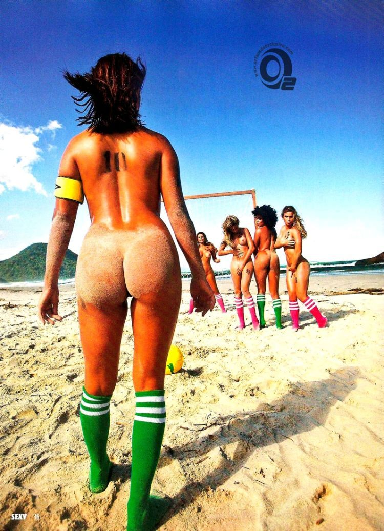 Girls playing beach volleyball naked in the recent issue of Sexy magazine - 05