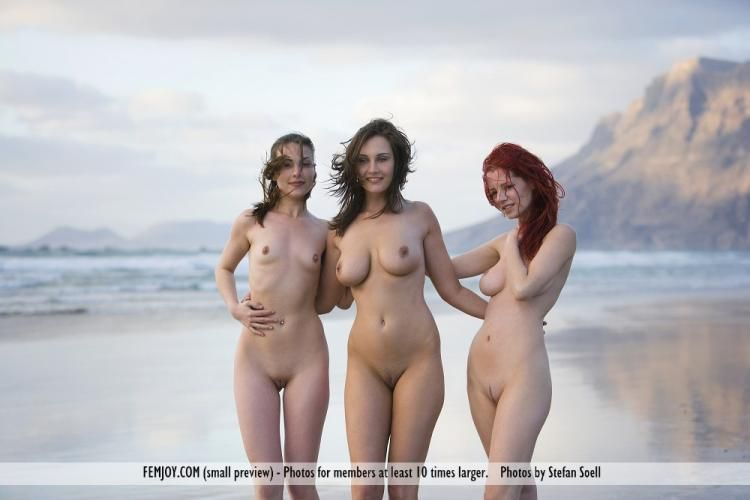 Three temptresses on the beach - 05