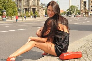 Erotic walk around the city with a beautiful brunette