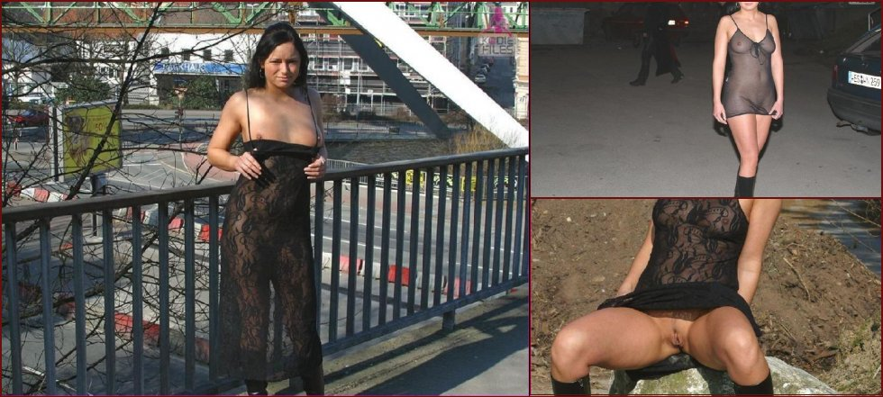 Nice girl is posing nude in public - 1