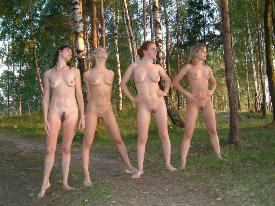 Girls naked in forest