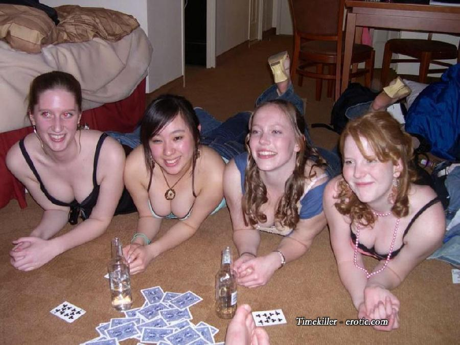 Amateurs girls playing strip poker - 40